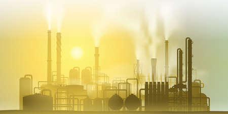 silhouette industrial factory: Industrial Chemical Petrochemical Oil and Gas Refinery Plant Illustration