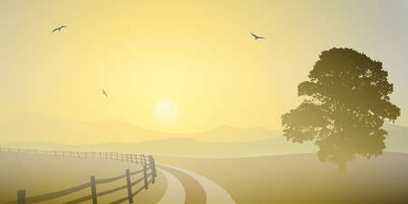 A Country Landscape with Sunset, Sunrise, Road and Tree Stock Vector - 15284096