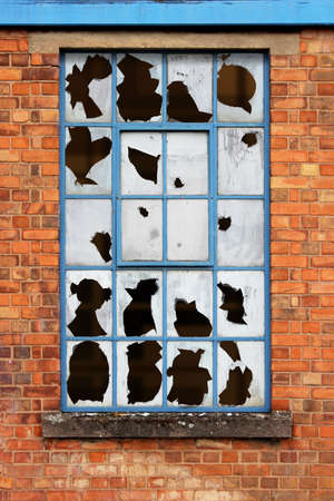 abandoned factory: Old Factory Window with Broken Glass Stock Photo