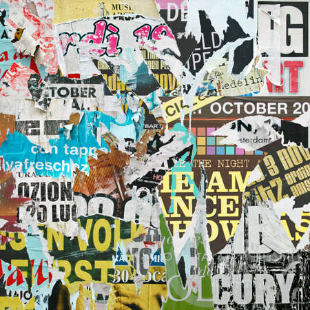 poster: A Grunge Background with Old Torn Posters