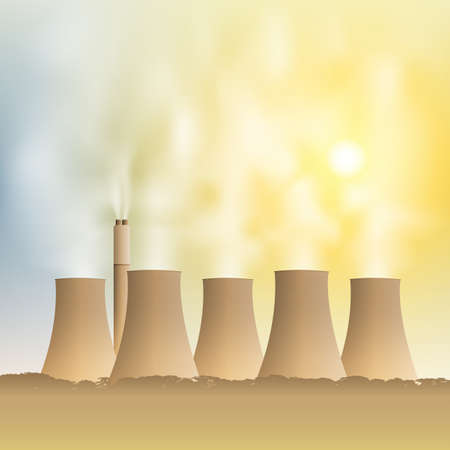 A Power Station with Cooling Towers and Steam, Smoke Stock Vector - 15800300