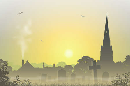 A Misty Country Landscape with Church Spire, Cemetery and Tombstones Vector