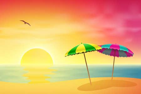 Een zandstrand met twee Parasols bij zonsondergang