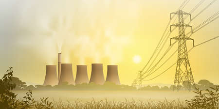 electricity pylon: Electrical Lines and Electricity Plant with Cooling Towers