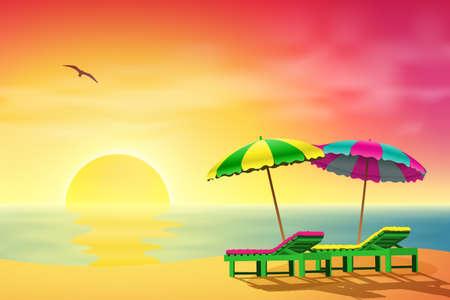 strandstoel: Twee ligstoelen en parasols op een strand met zonsondergang Stock Illustratie