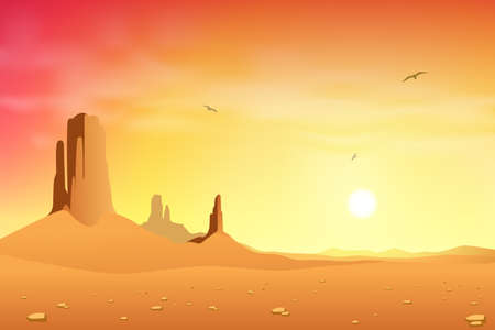 desert sunset: Desert Landscape Illustration