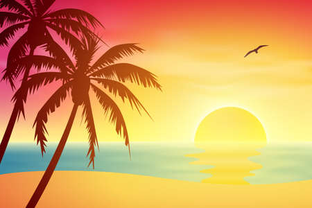 horizon reflection: A Tropical Sunset, Sunrise with Palm Trees Illustration
