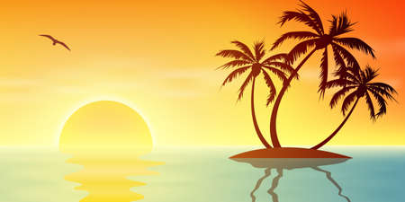 A Tropical Island Sunset, Sunrise with Palm Trees Illustration