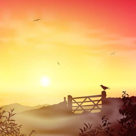 misty: A Misty Landscape with Farm Gate and Sunrise, Sunset Illustration