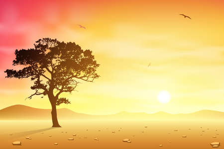 A Desert Landscape with Tree and Birds Vector