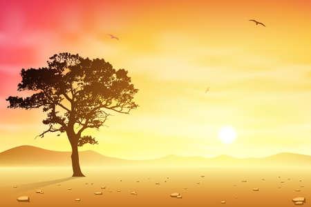 Un paesaggio desertico con albero e uccelli