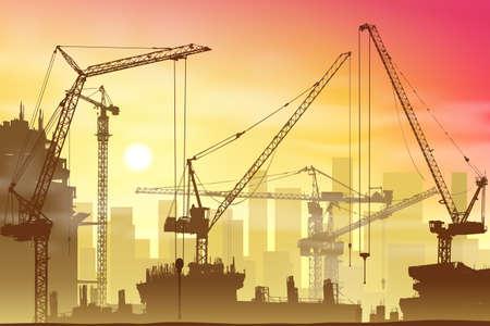 Veel Torenkranen op bouwplaats Stock Illustratie
