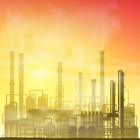 petrochemical plant: Industrial Chemical Petrochemical Oil and Gas Refinery Plant Illustration