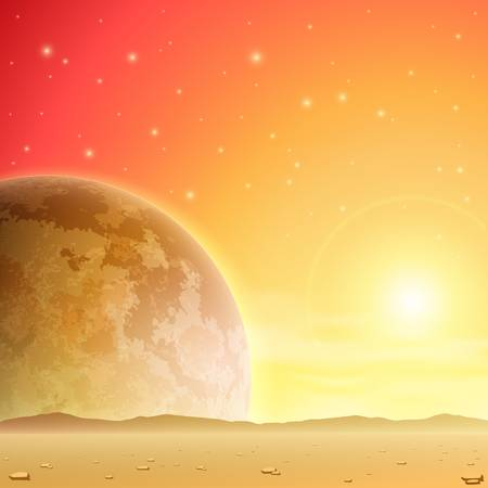 A Space Background with Planet and Stars Stock Vector - 16561165