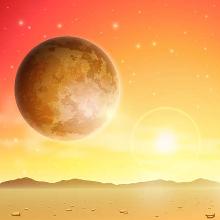 A Space Background with Planet and Stars Vector