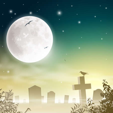 A Misty Graveyard, Cemetery with Tombstones and Moon Vector