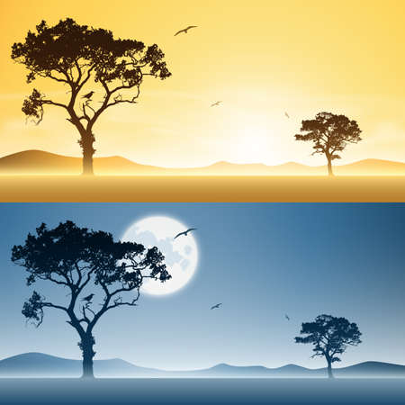 Two Landscapes Day and Night with Moon and Sunset, Sunrise Stock Vector - 16852655