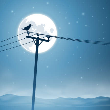A Bird on Telephone Lines with Moon and Stars
