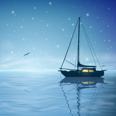 A Sailing Boat with Night Sky and Reflection on Water Vector
