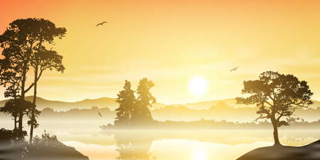 A Misty River Landscape with Sunrise, Sunset and Trees Vector