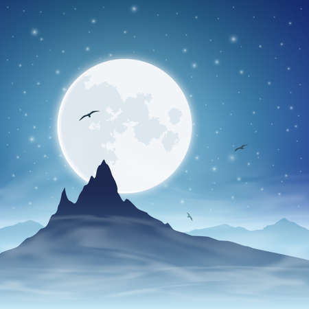 A Mountain with Moon and Night Sky Stock Vector - 16852658