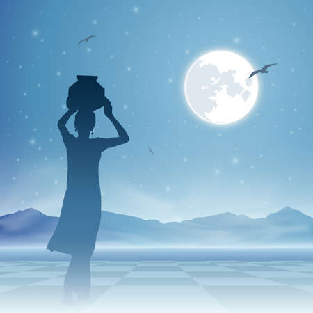 water jug: An Indian Girl Carrying Water Jug with Moon and Night Sky
