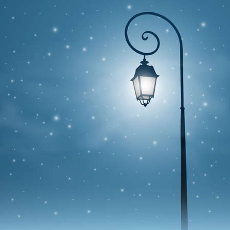 An Old Street Light with Night Sky and Stars Vector