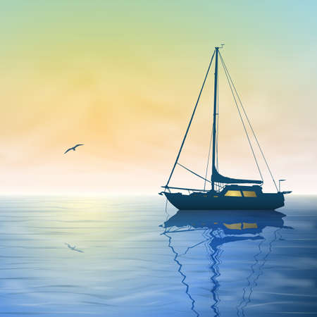 A Sailing Boat with Misty Sunset and Reflection on Water