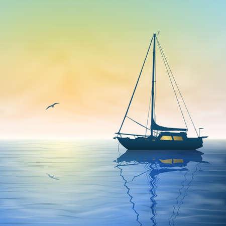 Een zeilboot met Misty Zonsondergang en reflectie op het water Stock Illustratie