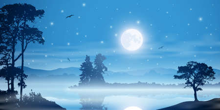 A Misty River Landscape with Moon, Stars and Trees Stock Vector - 17218849