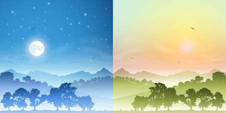 misty forest: Dos paisajes de d�a y de noche con la luna y puesta de sol, salida del sol Vectores