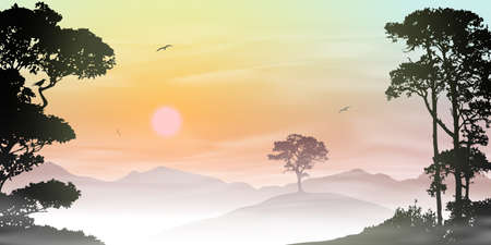 A Misty Countryside Landscape with Sunrise, Sunset Stock Vector - 17218848