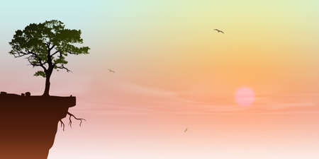 precipice: A Tree on a Cliff with Sunrise, Sunset Illustration