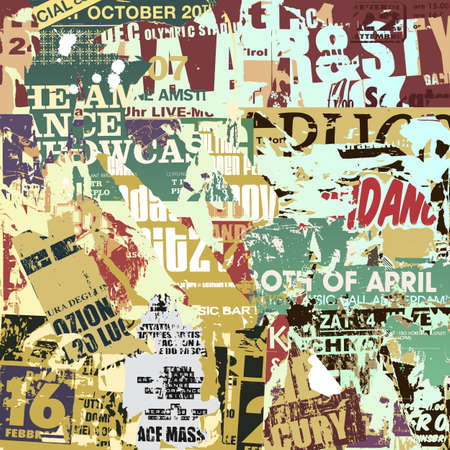 A Grunge Background with Old Torn Posters Vector