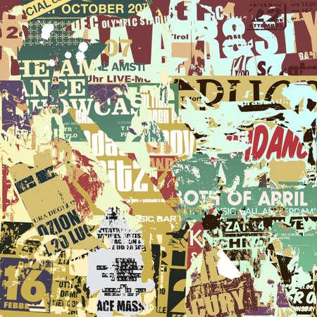 Een Grunge Achtergrond met oude gescheurde Posters