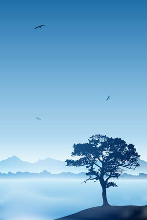 A Tree with Misty Lake and Blue Sky Stock Vector - 17622450
