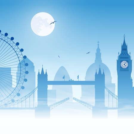 london tower bridge: A Misty London Cityscape with Moon