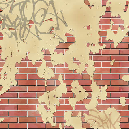 redbrick: An Old Brick Wall with Peeling Plaster and Graffiti