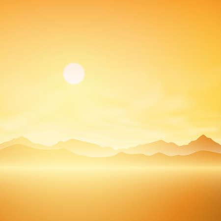 misty: A Simple Sunrise, Sunset Misty Landscape