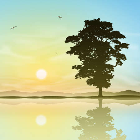 A Single Tree Standing Alone with Reflection in Water Ilustração