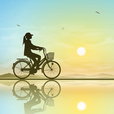 A Girl on a Bicycle in Silhouette with Sunset, Sunrise Stock Vector - 21956252
