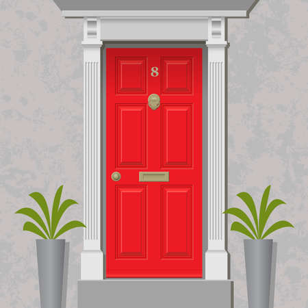 red door: An Old Style Front Door, Red with Brass