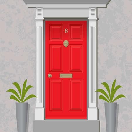 puertas antiguas: Un viejo estilo Puerta principal, rojo con Latón Vectores