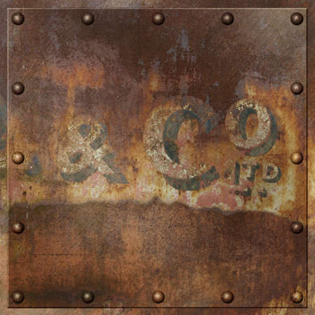 rivets: An Old Rusty Metal Background with Rivets