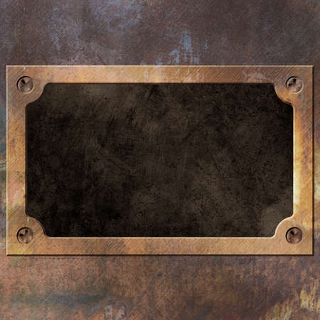 An Old Rusty Metal Background with Name Plate, Plaque Stock Photo - 21956285