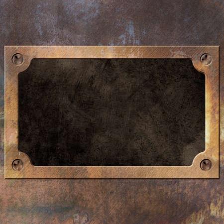 Een oude roestige metalen achtergrond met Naam Plate, Plaque Stockfoto