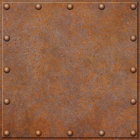 A Rusty Metal Plate Background with Rivets photo