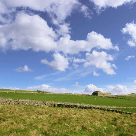 A Country Landscape with Dry Stone Walls and Fields photo