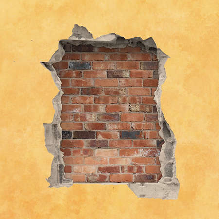 plaster: A Hole in a Wall with Red Brick Background
