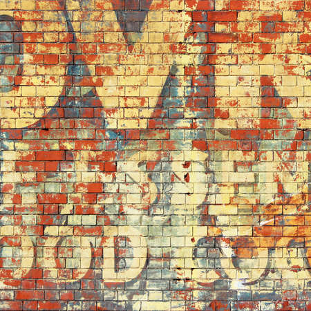 brick background: An Old Grunge Red Brick Wall with Painted Letters